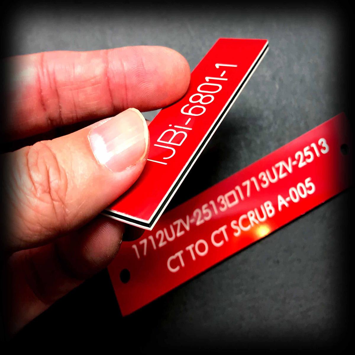 1.5mm red traffolyte engraving