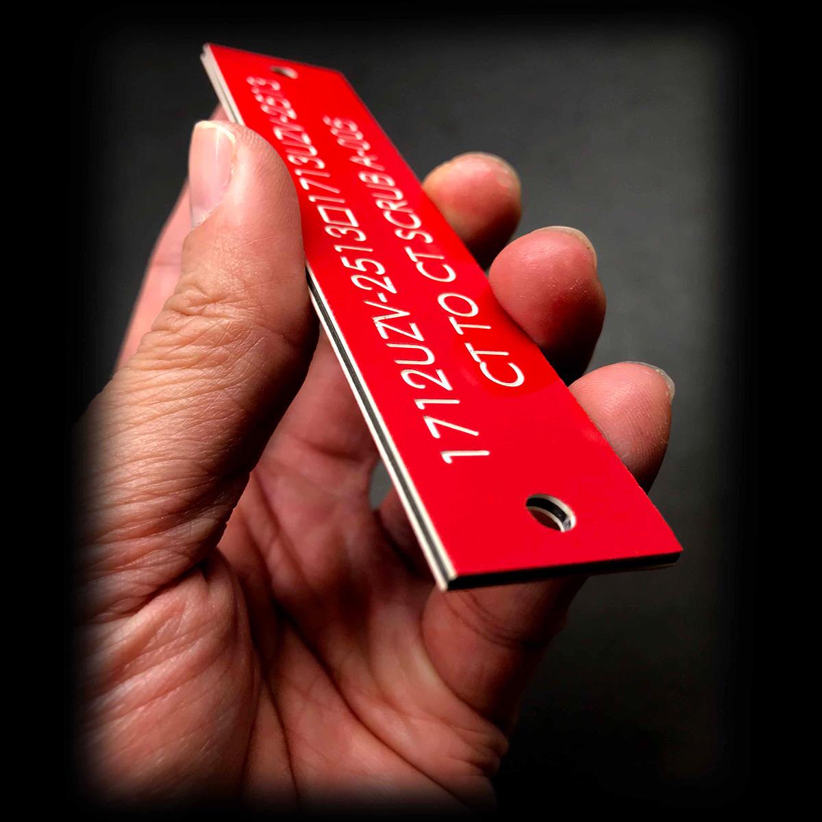 3mm red traffolyte engraving