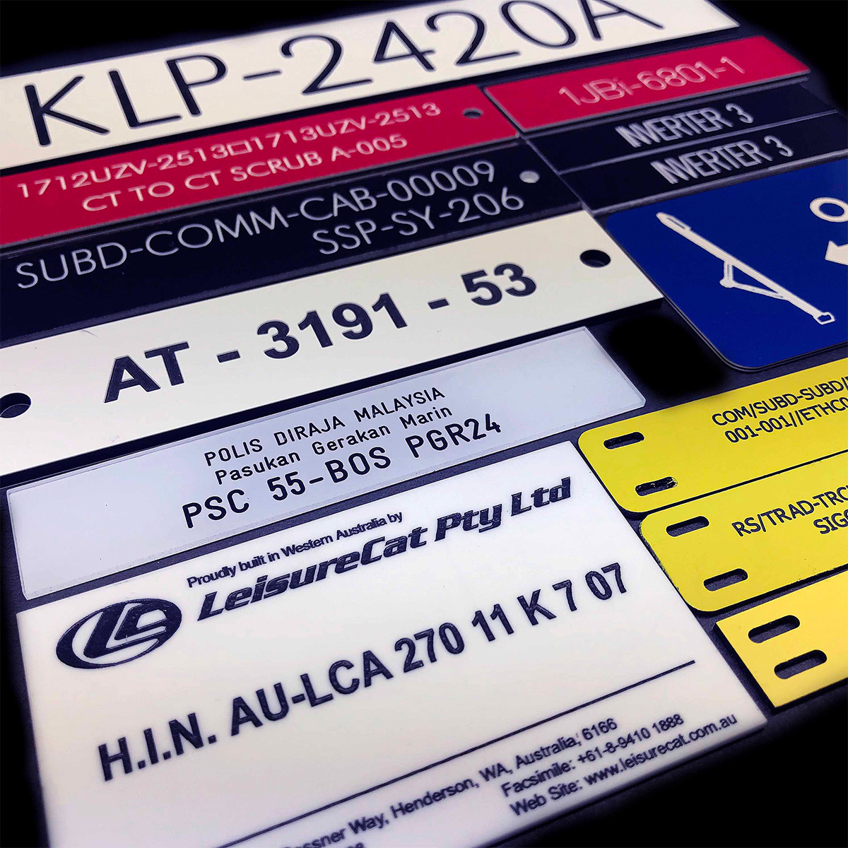 Engraved Traffolyte labels, Phenolic Labels and Gravoply labels